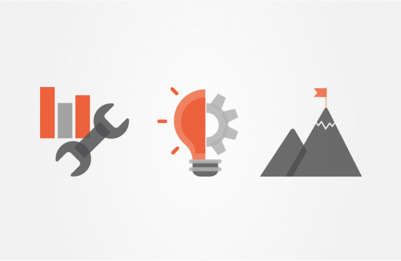 Icons showing a spanner, a lightbulb, and a mountain