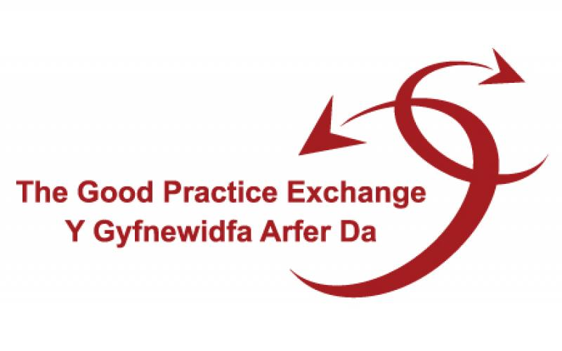 Good Practice Exchange logo 0 two interlinked, arcing red arrows