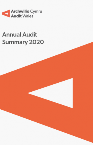 Denbighshire County Council – Annual Audit Summary 2020: report cover showing audit wales logo